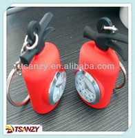 Fire extinguisher Keychain with clock , soft pvc watch keychain