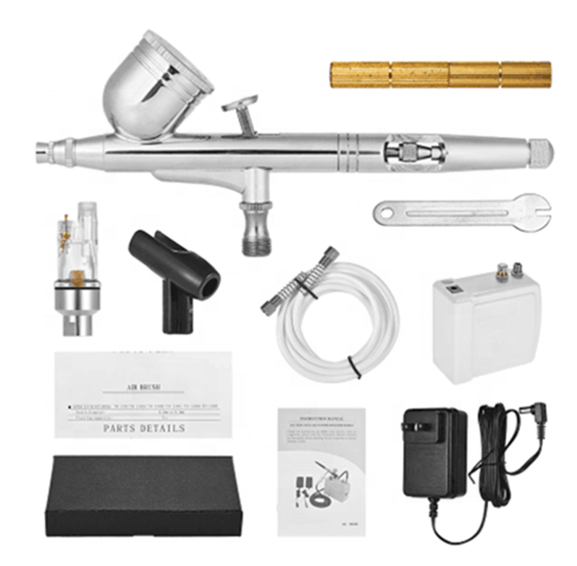 Airbrush kit met Mini Air Compressor Dual Action Aerograph set Up
