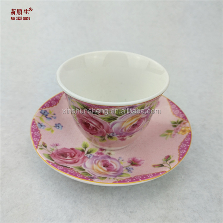 12pcs Arabic Cawa Cup And 80CC Pink Cup Saucer Set