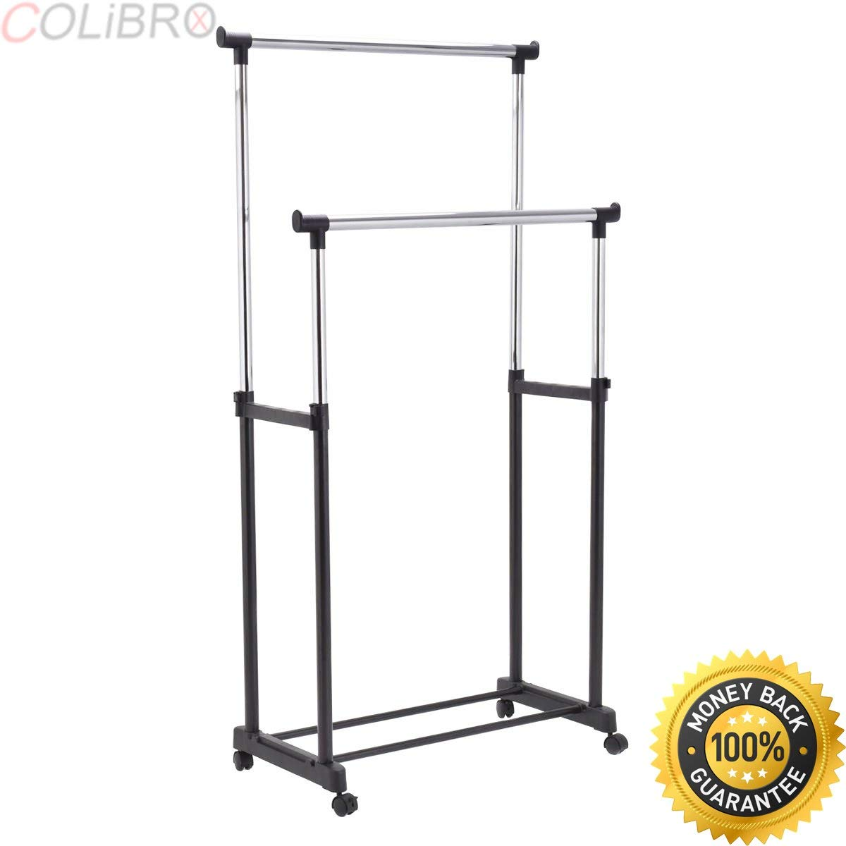 Get Quotations Colibrox Double Rail Adjule Garment Rack Rolling Clothes Hanger Heavy Duty Portable