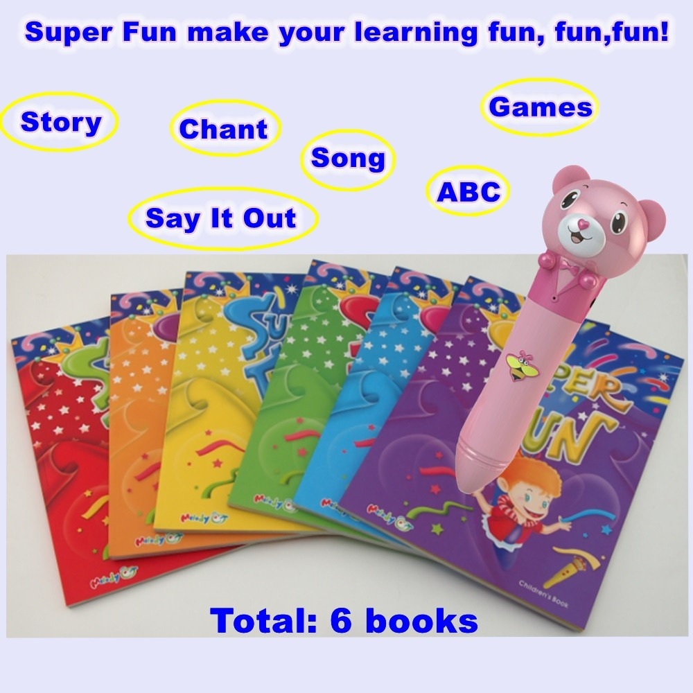 Popular Interactive OID 3 Reader Pen with Full Color Audio ABC book Books Super Fun 6 Books for Kids Learn English Songs EB13