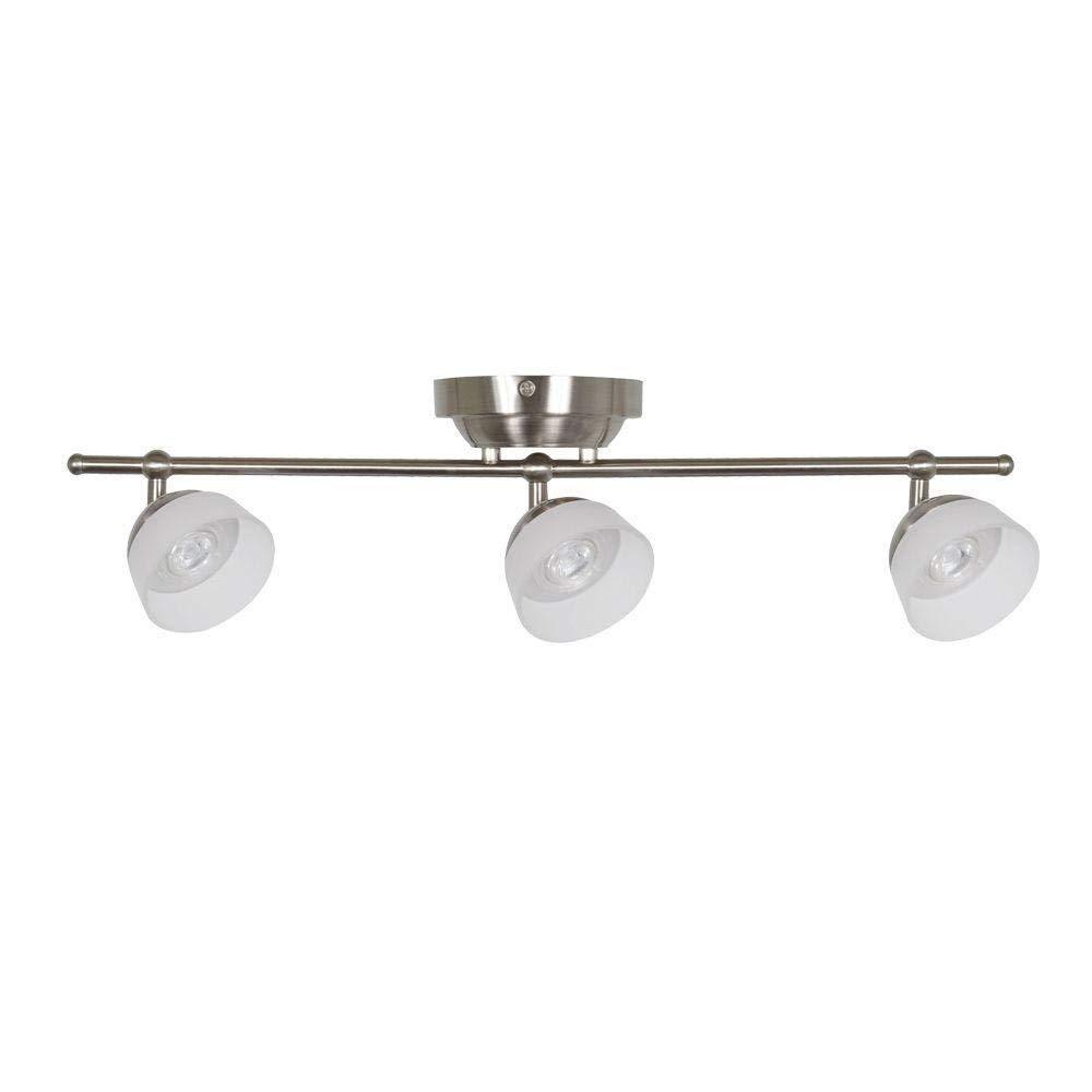 Hampton Bay Madison 2 ft. 3-Light Satin Nickel LED Fixed Track with 400 LM/Head 1000027118