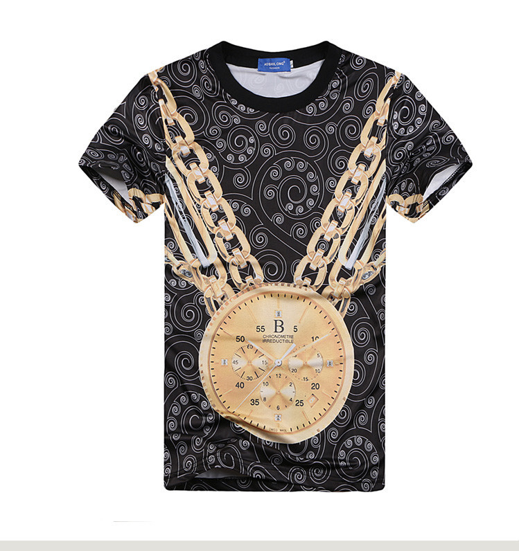 Fashion 3D Print digital clock gold chain t shirt O-neck short sleeve men/women T-shirt harajuku clothes plus size free shipping
