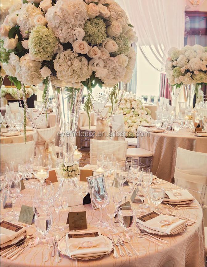 Trumpet glass vase wedding centerpiece and flower