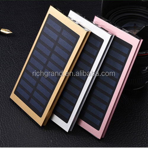 20000mAh Battery Dual USB Ultra Slim Solar Power Bank Charger with LED Flashlight