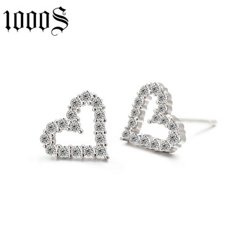 fashion heart shape rhodium plating 925 silver stud earring