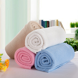 Cute 100% cotton soild knitted muslin donation baby blanket for crib, stroller, travel, outdoor