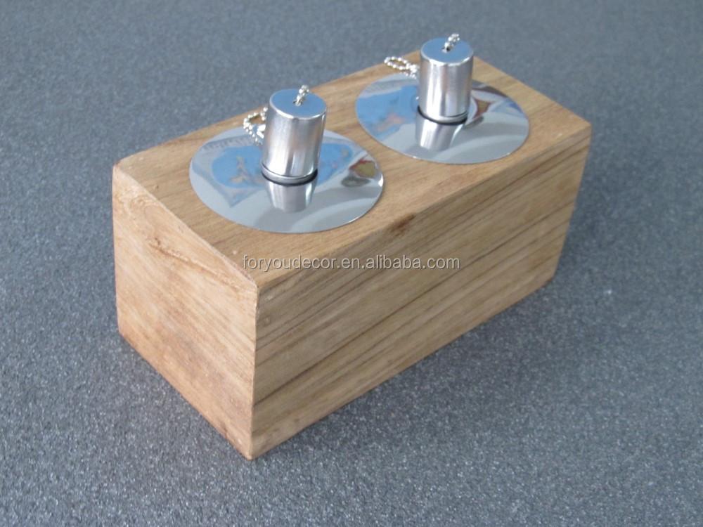 Wt 001 outdoor garden and table decoration teak wooden oil for Wooden kerosene lamp holder