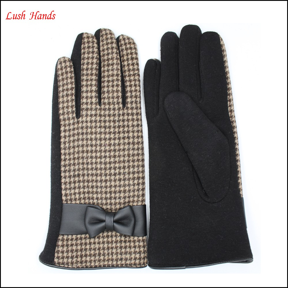 ladies new style spandex velvet gloves with leather bow