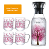 1000 ml Sakura (gorilla Glass) 물병에 투 와 Sakura 컵