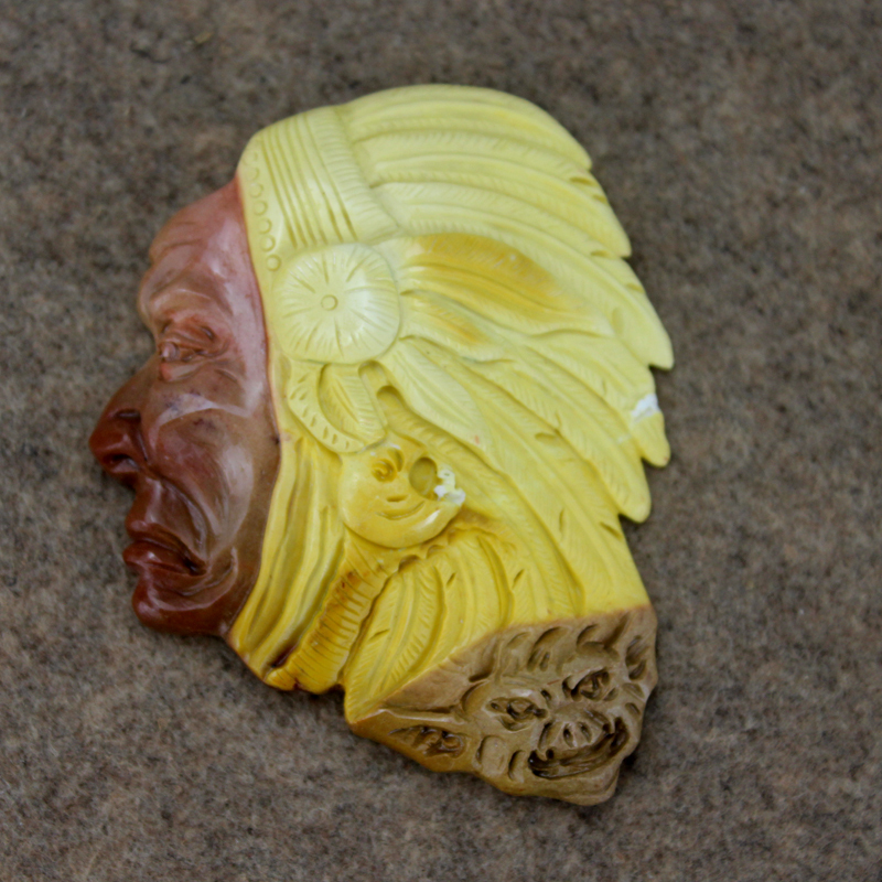 2.56 inch Carved Indian Figure Mookaite jade Pendant