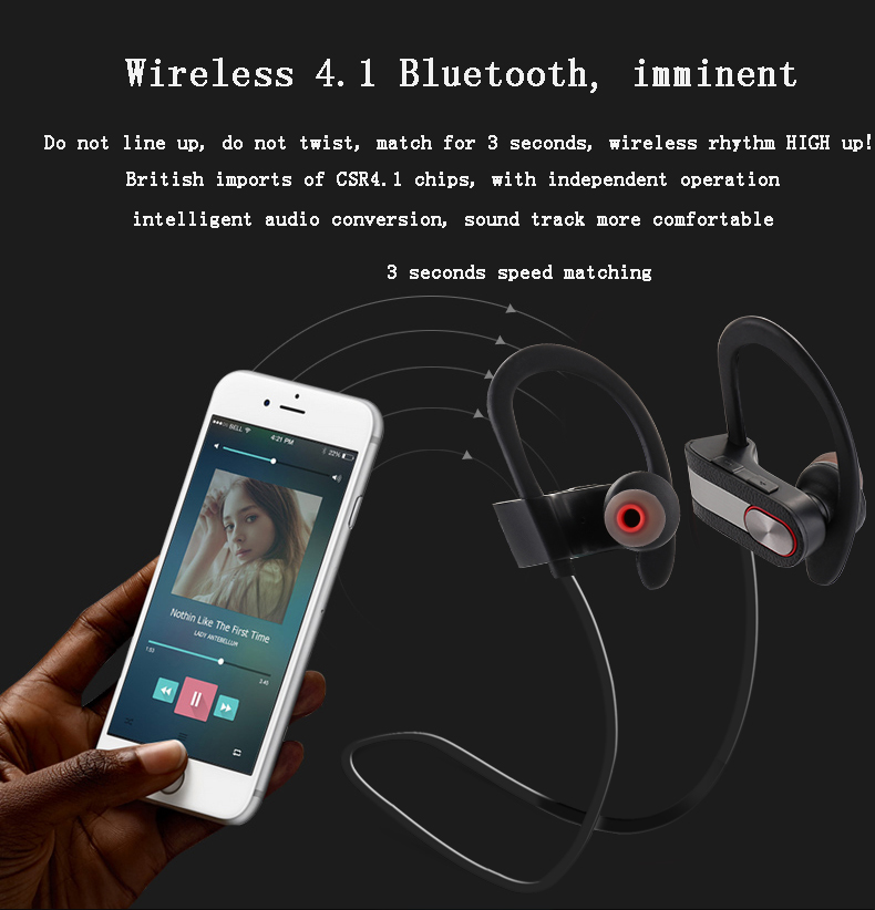 High quality cheap sport wireless stereo bluetooth earphone with mic for