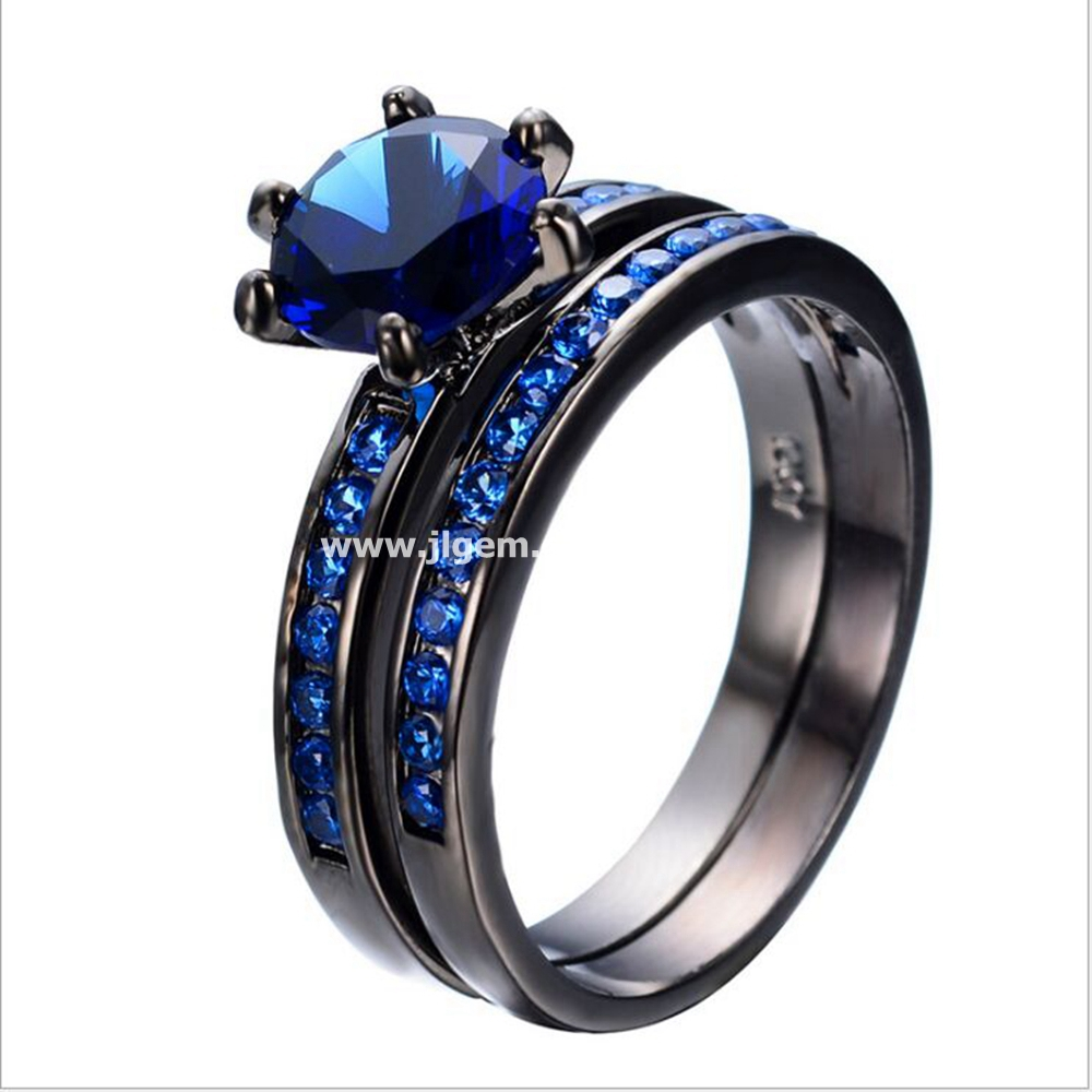 Wholesale Women Fashion Jewelry Girls Top Brass Round Sapphire CZ Solitaire Black Ring