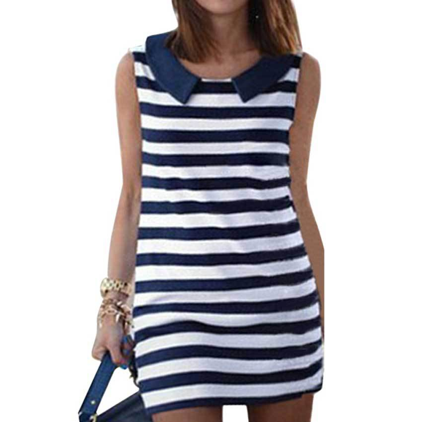 2015 Clothing Women Fashion Denim  Sleeveless Casual Striped Jeans Dress Ladies Blouses Tops Casual Dress LSP8150
