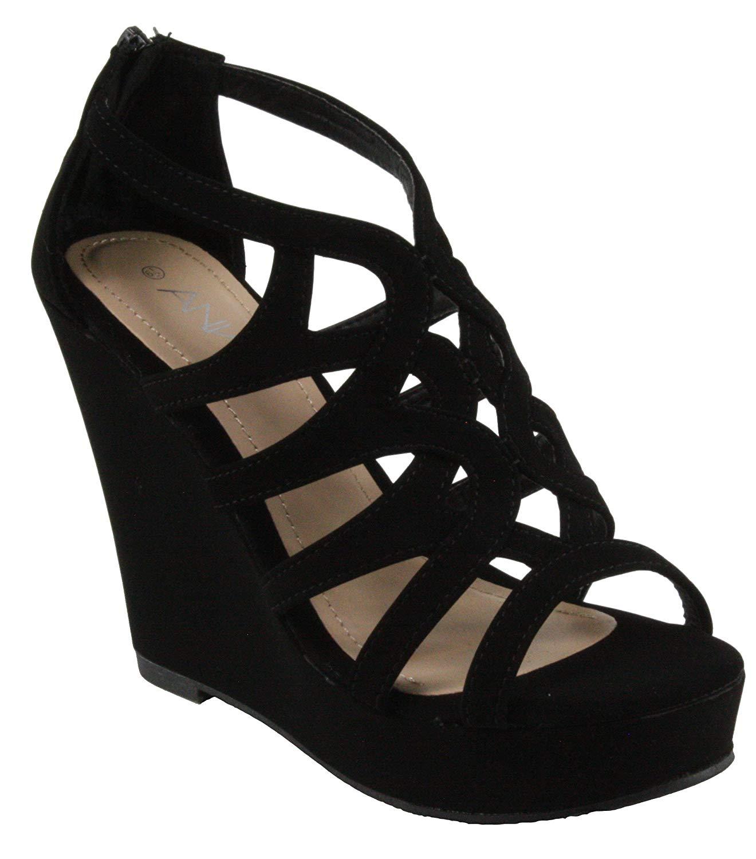 6f202a4e8264 Get Quotations · ANNA Women s Paso-1 Laser-Cut Cage Platform High Heel  Wedge Sandals (8.5