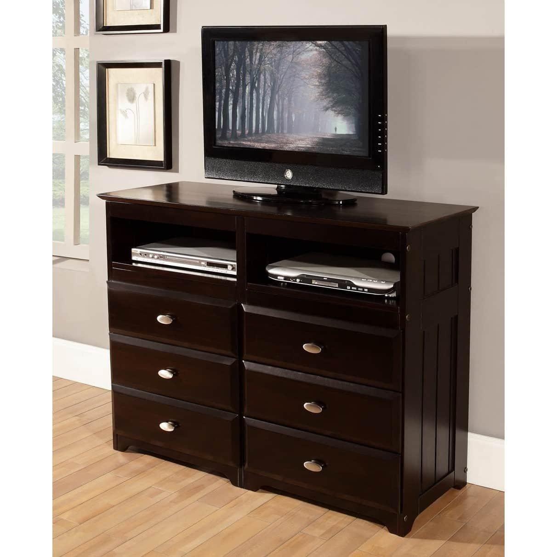 American Furniture Classics Espresso-Finished Pine Wood 6-Drawer Entertainment Dresser