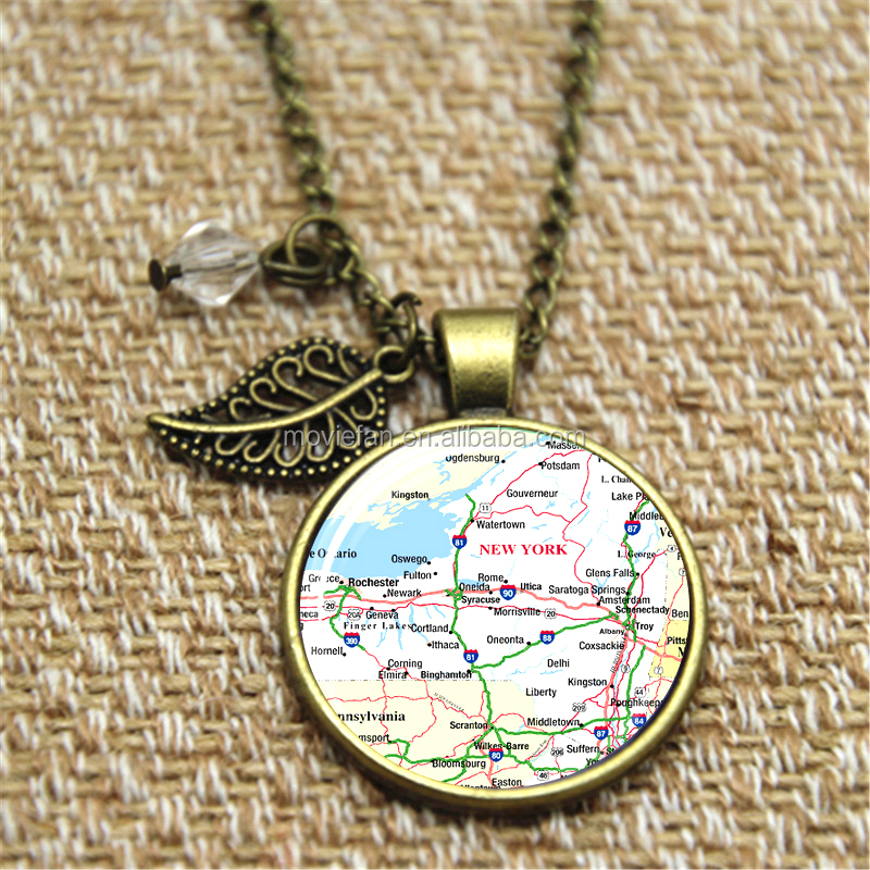 Map of New York City Necklace Travel Pendant necklace NYC United States Glass Photo Cabochon Necklace