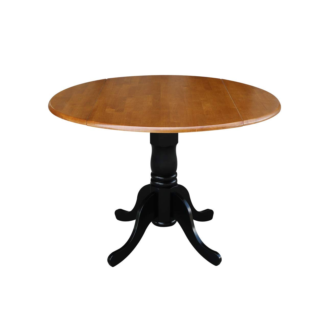 Elegant Round Kitchen Table With Drop Leaves, Sturdy and Long Lasting Solid Engineered Wood Construction for a Stable Dining Surface, Cleans Easily with a Damp Cloth, Durable, Black/Cherry Finish