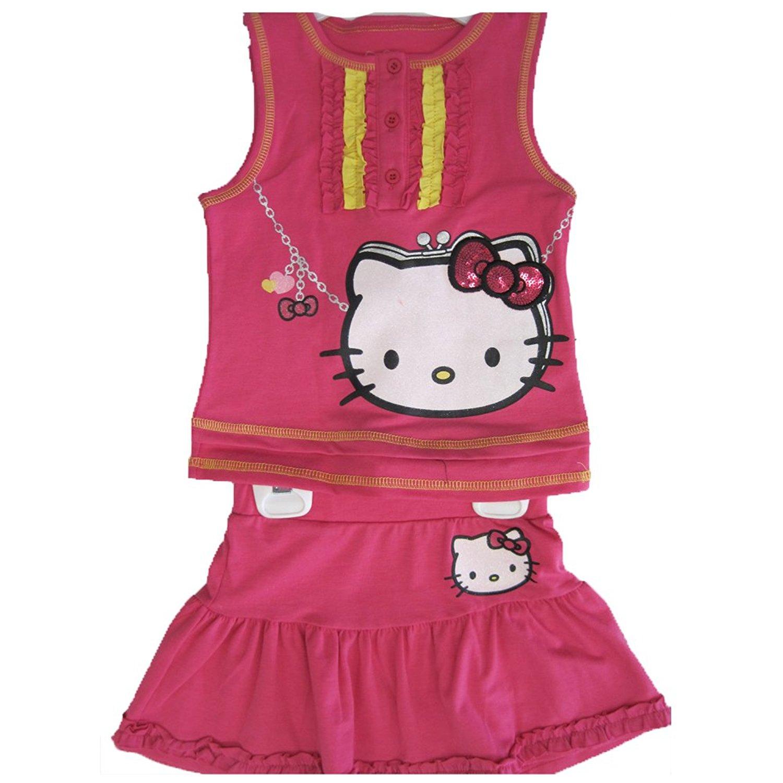 774cc8f11 Hello Kitty Little Girls Fuchsia Ruffled Sequined Bow 2 Pc Skirt Set 4-6X