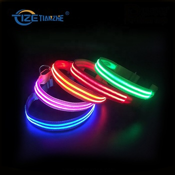 New Nylon Material Pet Collar Leash USB Rechargeable Light Up Dog Collar with LED