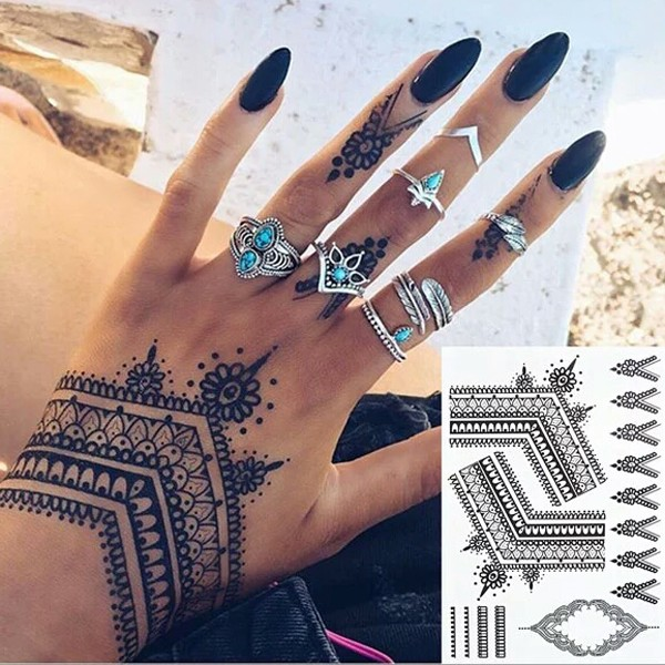Eco Friendly Black Henna Temporary Tattoo Sticker With Full Color