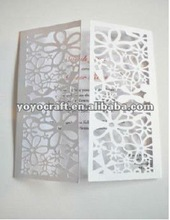 2012 new! laser cut luxurious wedding invitation card in various colors and custom made sizes