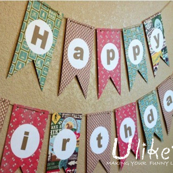 Child Party Decoration Paper Jointed Banner Letter Bunting Children Birthday