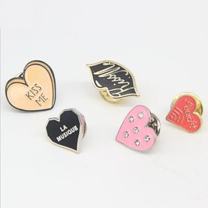 Custom heart shaped enamel lapel pins for clothes