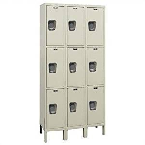 """Maintenance-Free 3 Tier 3 Wide Quiet Box Locker Color: Parchment, Size: 36""""W x 18""""D x 78""""H"""