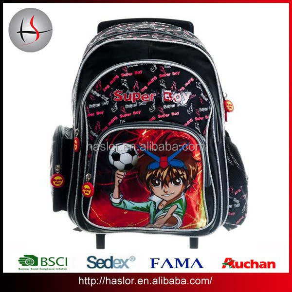 Wholesale New Design Child Kids Trolley School Bag for Boy