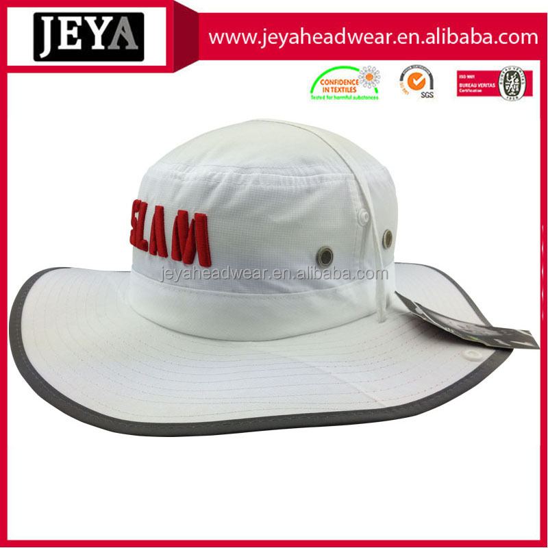 Puff embroidery red letters big brim with pining summer outdoor cap, Printing underbrim bucket hats with strings