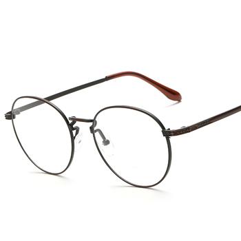 0677aff7f6ca0 New retro antigo oval armações de óculos masculino óculos full frame de  metal cinza limpar lens