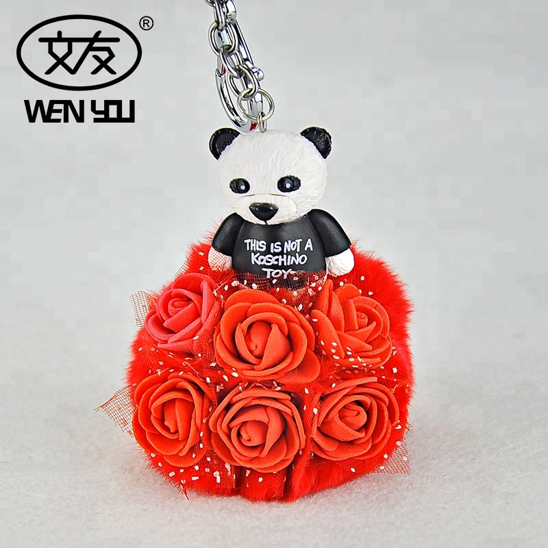Plush Panda 3D Pom Pom Keychain Ring <strong>Key</strong> For Bag Accessories