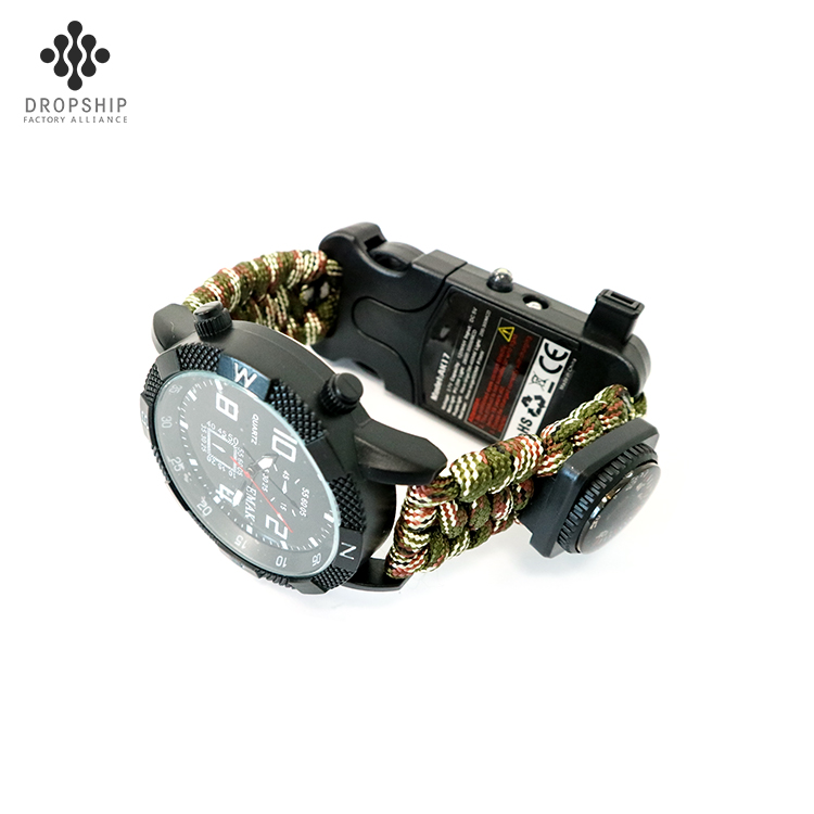 Dropship DS-SG1015 Camping Survival Taschenlampe Pfeife Kompass mit Lupe LED Armbanduhr