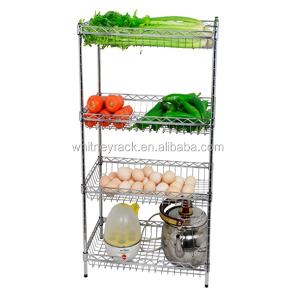 CE certificate customized kitchen vegetable fruits shelves,stainless steel hanging shelf rack,powder coated wire shelving