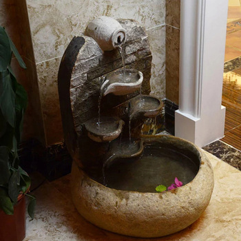 Indoor Decor Lotus Flower Stone Water Fountain With Basin View