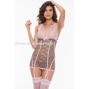 9b05a9a3bc59e Top Quality Plus Size Sleepwear Women s Lace Babydolls With G-String  Chemise Lingerie Set Flirty