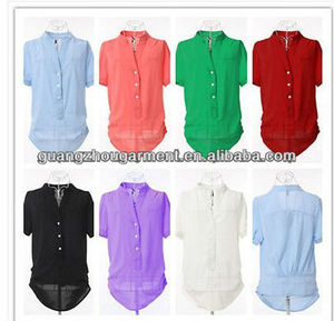 blouses summer ladies Casual Chiffon Blouse Plus Solid Spread Short Sleeve Shirt