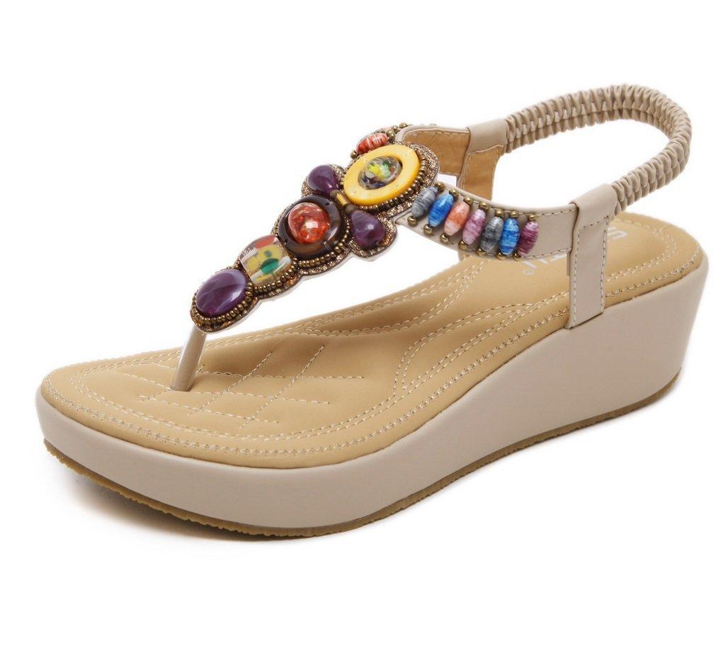 0b7c57894b1b9d Get Quotations · ZHHZZ Summer Leather Wedges Sandals Sandals Women Beaded Wedge  Sandals (Color   Apricot