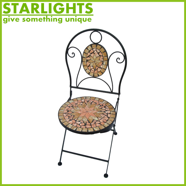 Wonderful iron mosaic crafts chair for garden decoration