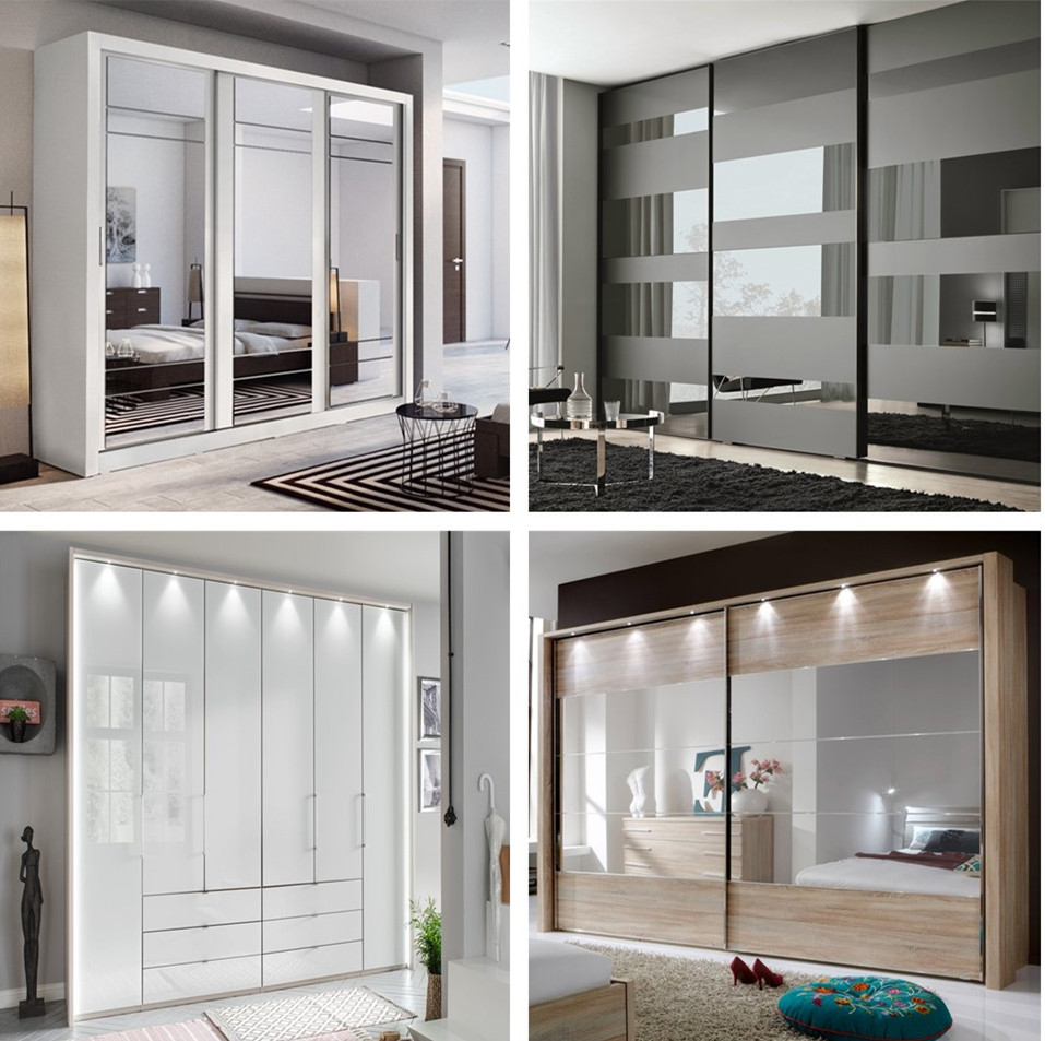 Factory Price Mirrored Wardrobe Bedroom Design 3 Panel Sliding Doors Wardrobe Closet