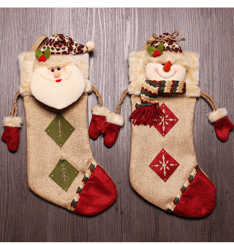 DM 630 Wholesale big size Christmas sock decoration gift for her candy bag santa stocking