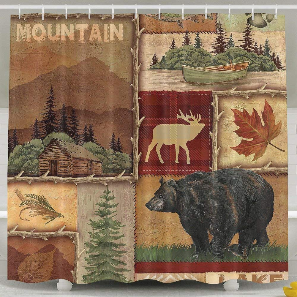 ZHYPMNU 60 X 72 Inch Shower Curtain,Rustic Lodge Bear Moose Deer Polyester Waterproof Bath Curtain,Fabric Mildew Resistant Bathroom Decoration With Hooks