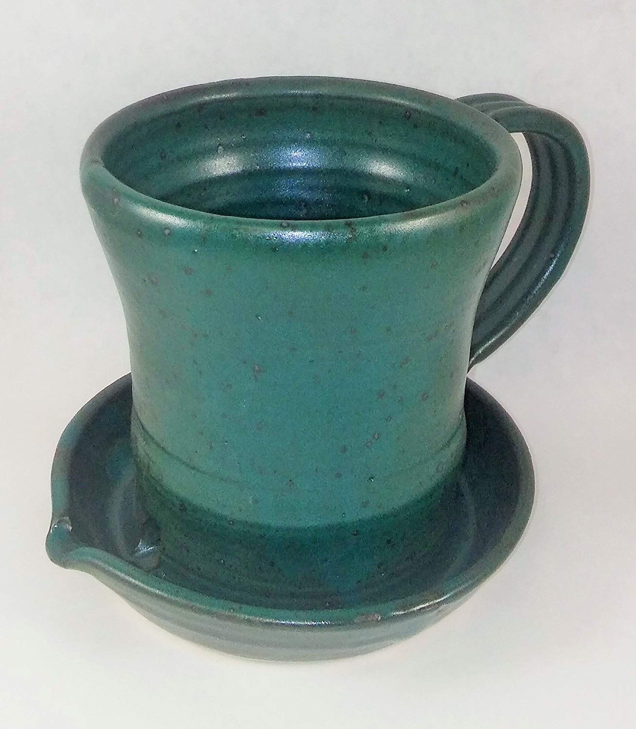 Aunt Chris' Pottery - Heavy Hand Made - Clay Bacon Cooker - Unique New Way of Cooking Bacon - Glazed Green Color