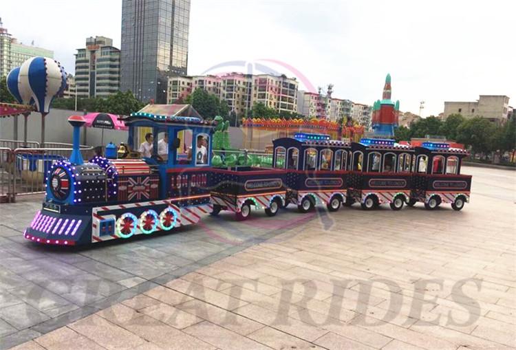 Atração barata parque de diversões equipamentos de jogos familiares passeio elétrico mini passeio de trem sem trilhos para venda