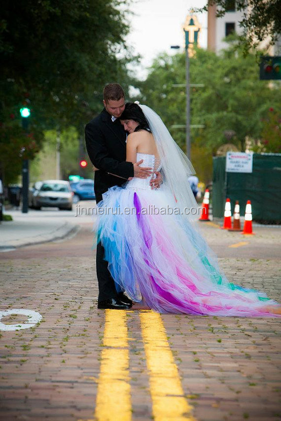 3ccaf6985a 2014 New Arrival Romantic Short Front Long Back Rainbow Wedding Dress  Bridal Women Gown Robe de