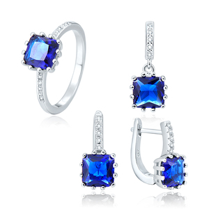 POLIVA Delicate Elegant Stunning Jewellery Best Seller Colorful Gemstone Square Sapphire Jewelry Set for Mother's Day Gift