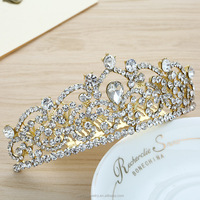 Aliexpress Hot Selling Small Minimum Order Quantity Gold Crystal Crown Tiara Wholesale