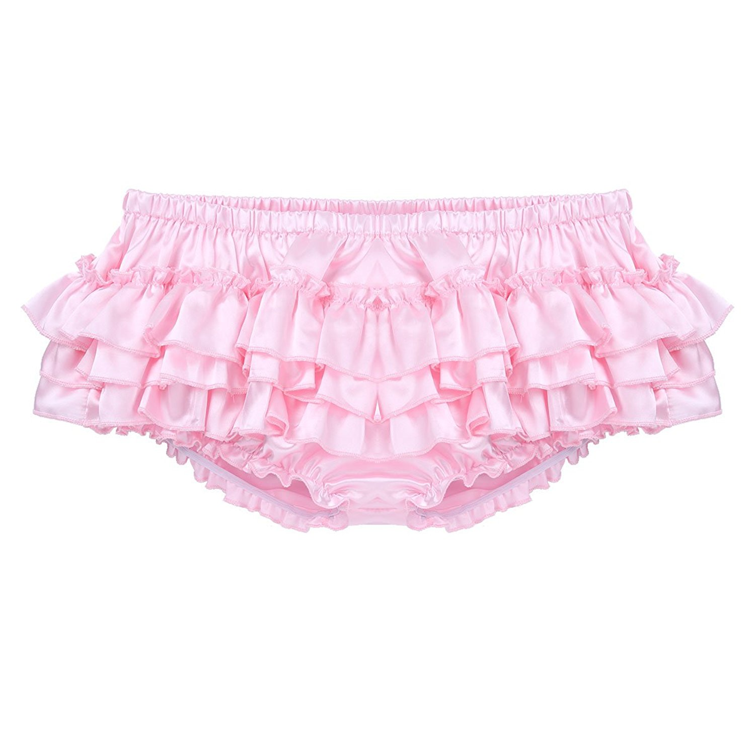 c773eaf65ff6 Get Quotations · ACSUSS Men's Satin Frilly Thong Sissy Crossdress Bloomer Ruffled  Skirted Panties