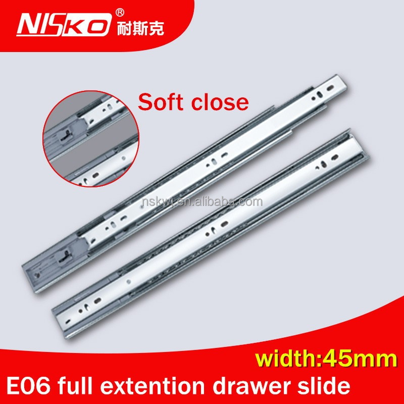 45mm Full extension soft closing ball bearing drawer slide,drawer slide rail,guide for sliding door